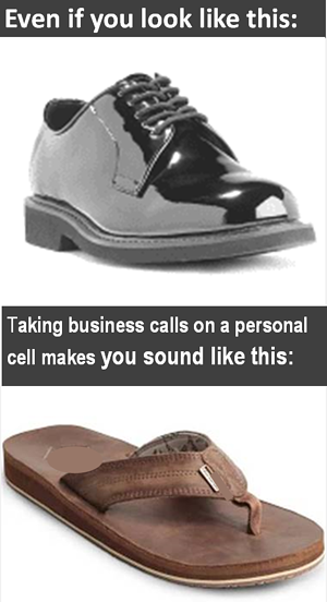 using a personal cell number for business is unprofessional